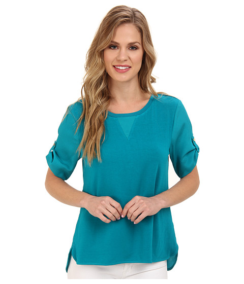 Bluze Calvin Klein - S/S Tee w/ Woven Back - Lagoon