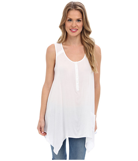 Bluze Jones New York - Sleeveless Handkerchief Hem Shirt - White