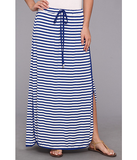 Fuste Vince Camuto - Theatre Stripe Drawstring Maxi Skirt - Ocean