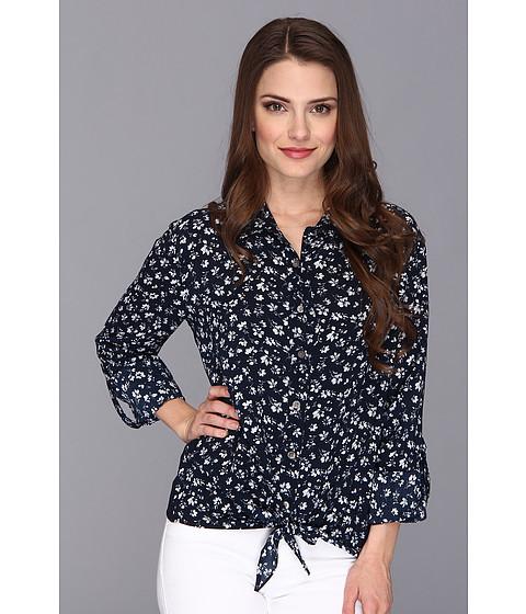 Bluze Vince Camuto - Petite Floral Tie Front Shirt - Blue Night
