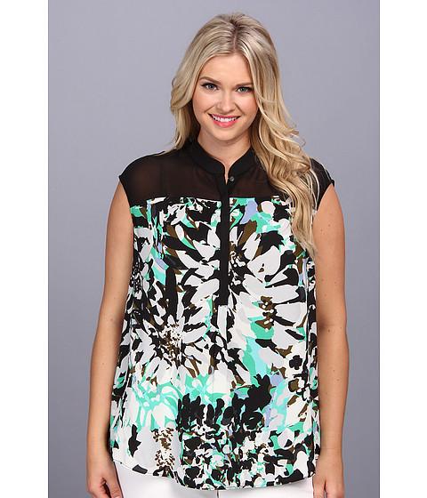Bluze DKNY - Plus Size Cactus Flower Crepe Sleeveless Half Placket Chiffon Yoke Blouse - Black