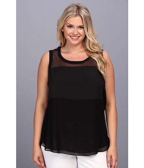 Bluze DKNY - Plus Size Lightweight Jersey Sleeveless Mesh Yoke Top w/ Shirttail Hem and Woven Piecing - Black