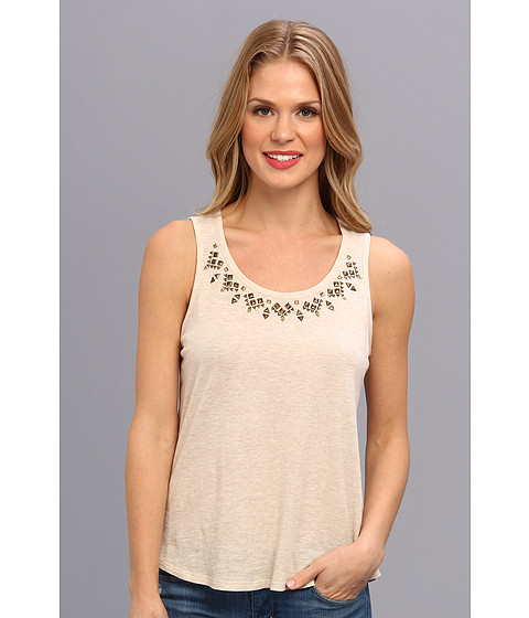 Bluze Vince Camuto - S/L Embellished Neckline Top - Oatmeal Heather