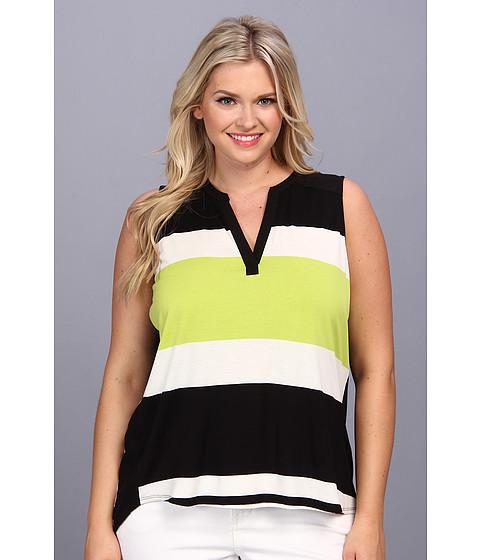 Bluze Vince Camuto - Plus Size S/L Split Neck Maxi Stripe Top - Cool Lime