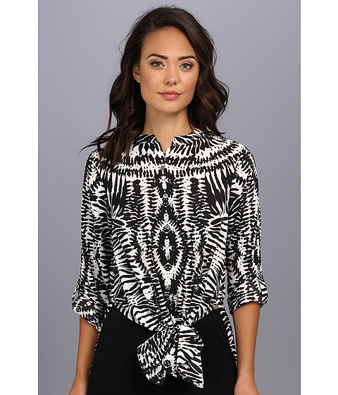 Bluze Vince Camuto - L/S Tribal Impression Tie Waist Tunic - Rich Black