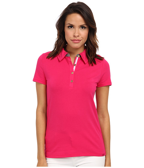 Bluze Jones New York - S/S Polo Shirt w/ Chambray Trim - Fuchsia