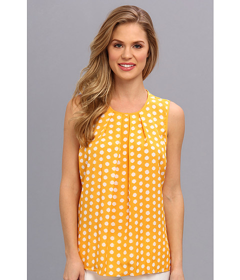 Bluze MICHAEL Michael Kors - Polka Dot Pleat Top - White/Vintage Yellow