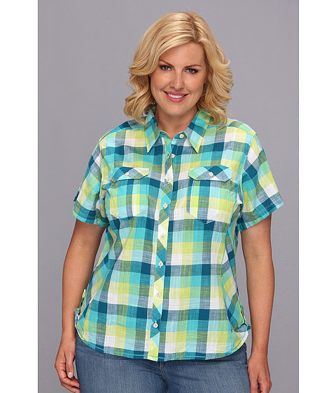 "Camasi Columbia - Plus Size Camp Henryâ""¢ S/S Shirt - Geyser Check"