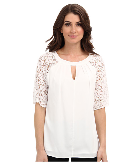 Bluze Calvin Klein - Blouse w/ Lace Sleeves - Soft White
