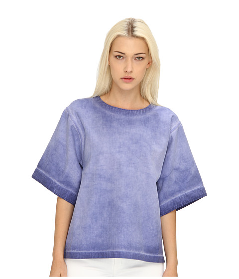 Bluze Chloe - S/S Crew Neck Top - Blue Indian Fade