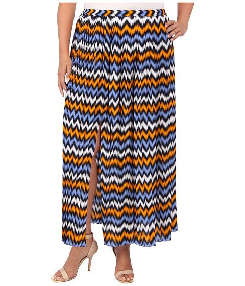 Fuste MICHAEL Michael Kors - Plus Size Ikat Pleated Maxi Skirt w/ Slit - Vintage Yellow/Oxford Blue