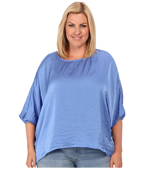 Bluze MICHAEL Michael Kors - Plus Size Kimono Top w/ Sleeve Ties - Oxford Blue