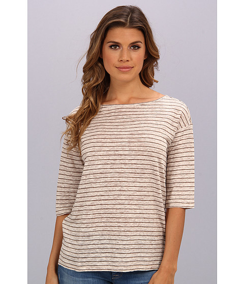 Bluze Michael Stars - Linen Knit Stripe Elbow Sleeve Boatneck Top - Oatmeal/Cobblestone