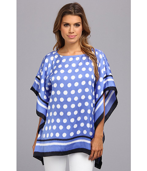Bluze MICHAEL Michael Kors - Spotted Ikat Flutter Top - Oxford Blue