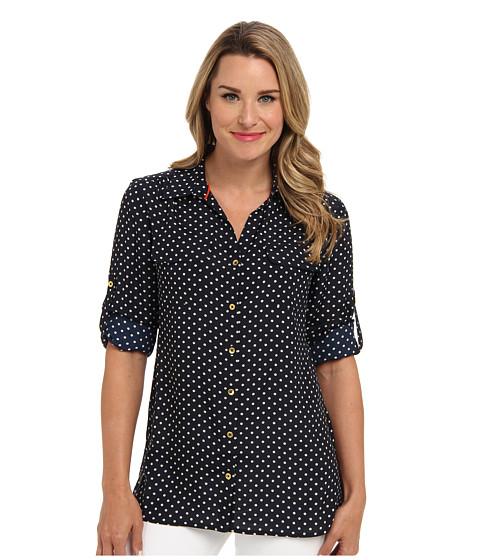 Bluze Jones New York - L/S Roll Shirt w/ Patch Pockets - Navy/Shell