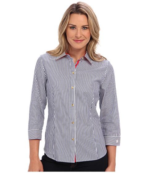 Camasi Jones New York - 3/4 Sleeve Button Front Shirt - Navy/White