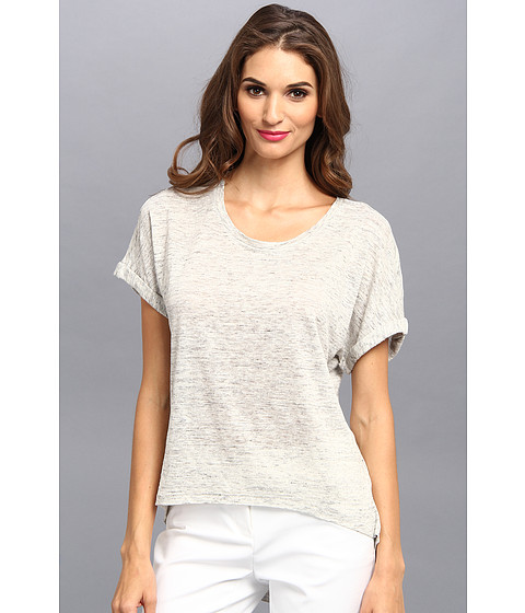 Bluze Michael Stars - Linen Knit S/S Scoop Neck Hi Low - Heather Grey