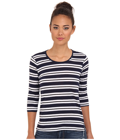 Bluze Michael Stars - Mercer Stripe Elbow Sleeve Crew Neck - Ship