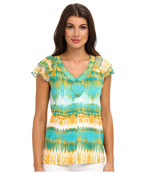 Bluze Caribbean Joe - Chiffon Sleeve Top - Bali Turquoise