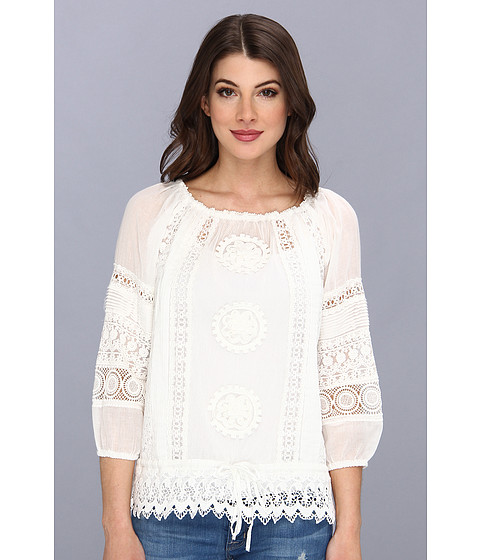 Bluze Nicole Miller - Elisa Blouson Crochet Top - White