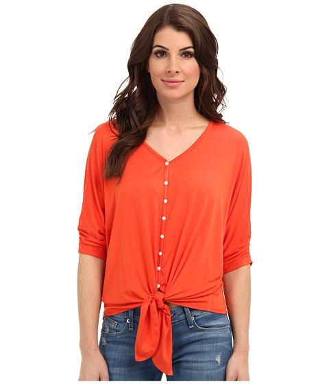 Bluze Karen Kane - Shirred Sleeve Tie Front Top - Orange