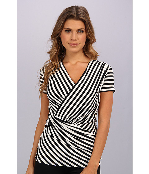 Bluze Vince Camuto - S/S Asymmetrical Small Tropic Stripe Top - Rich Black