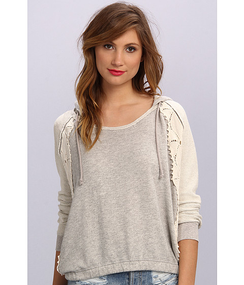 Bluze Free People - Only You Lace Hoodie - Grey Heather Combo