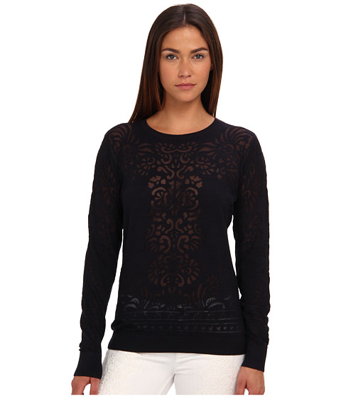 Bluze Rachel Roy - Crew Neck Burn Out - Dark Navy
