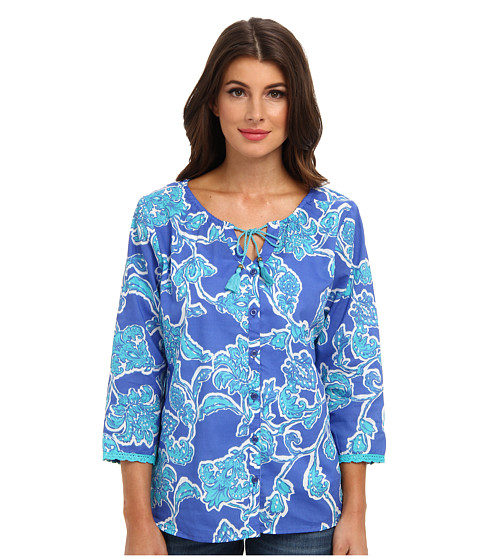 Bluze Caribbean Joe - 3/4 Sleeve Button Front Shirt - Aqua Reef