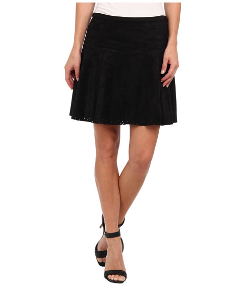 Fuste BCBGMAXAZRIA - Lucy Faux Suede Perf Aline Skirt - Black