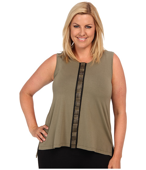 Bluze Vince Camuto - Plus Size S/L Embellished Front Seam Tank - Safari Green
