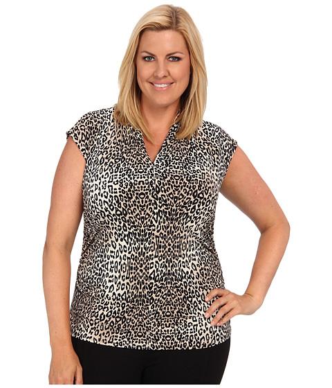 Bluze Vince Camuto - Plus Size Cap Sleeve Pleat V-Neck Des Leopard Top - Bone