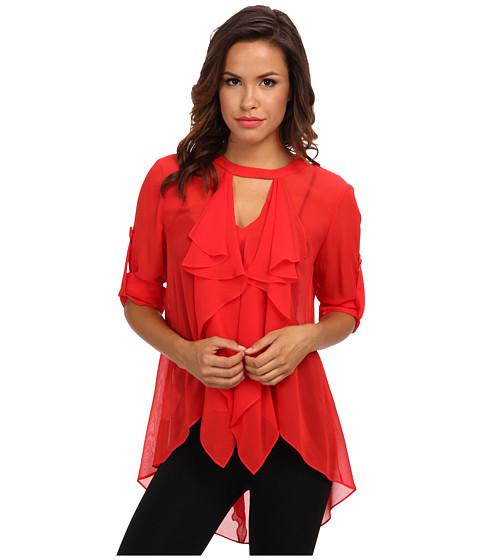 Bluze BCBGMAXAZRIA - Enya Silk Cascade Top - Red Berry