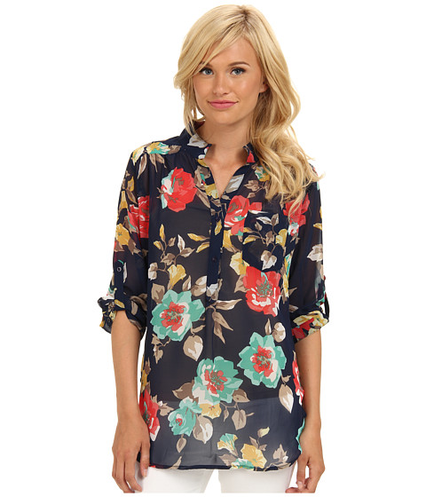 Bluze Brigitte Bailey - Floral Print Chiffon Top - Navy