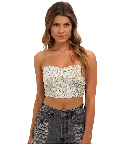 Lenjerie Free People - Sheila\s\ Shirred Strapless Crop Bralette - Blue Combo