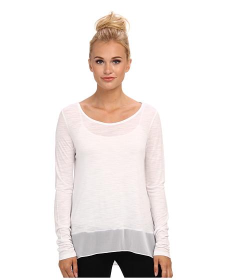 Bluze BCBGMAXAZRIA - Lane Contrast Sheer Hem Shirt - White