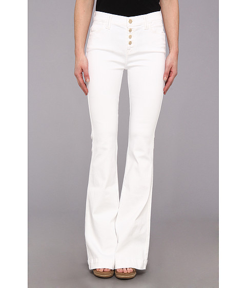 Blugi 7 For All Mankind - Biancha Wide Leg Pant w/ Exposed Buttons in White Fashion - White Fashion