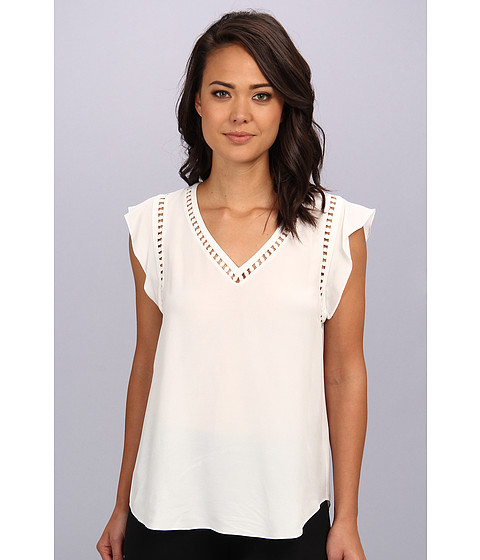 Bluze Rebecca Taylor - S/L V-Neck Embroidered Circular Top - Chalk