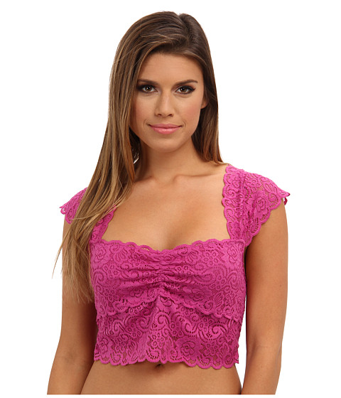 Bluze Free People - Scalloped Lace Crop Top - Fuchsia