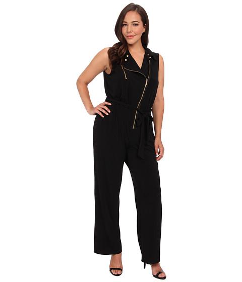 Pantaloni Calvin Klein - Plus Size Moto Jumpsuit w/ Zip - Black