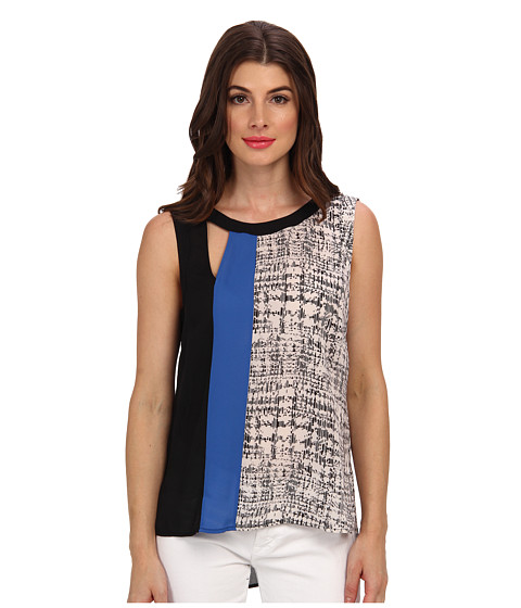 "Bluze BCBGMAXAZRIA - ""Elicia\"" Printed Cut Out Tank Top - Larskspur Blue Combo"