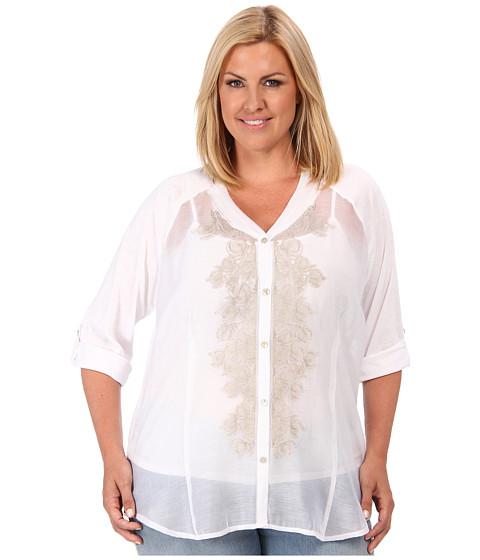 Bluze NIC+ZOE - Plus Size Fresh Blossom Top - Paper White