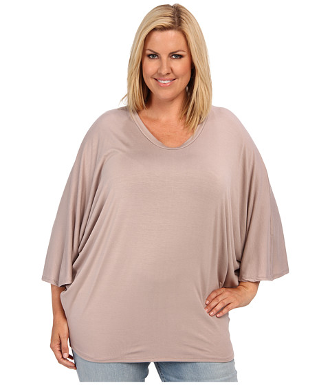 Bluze Culture Phit - Plus Size Scoop Neck Top - Mocha