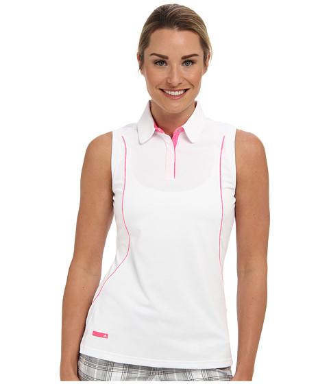 Bluze adidas - Contrast Sliver Asymmetrical Sleeveless Polo - White/Solar Pink