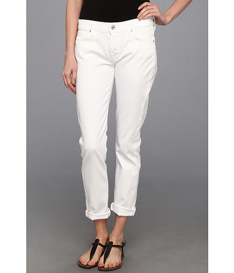 Blugi 7 For All Mankind - Josefina Skinny Boyfriend w/ Rolled Hem in Clean White - Clean White